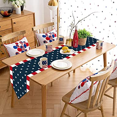 Bosstar Independence Day 4th of July Table Runner Dresser Scarves American Flag Cotton Linen Kitchen Home Decor Table Runners