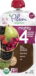 Plum Organics Mighty 4, Organic Toddler Food, Pear, Cherry, Blackberry, Strawberry, Spinach and Oat, 4 Ounce (Pack of 12)