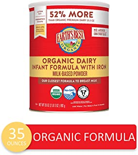 Earth's Best Organic Dairy Infant Powder Formula with Iron, Omega-3 DHA and Omega-6..
