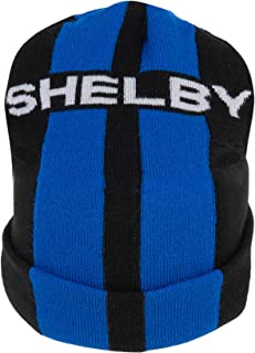 Shelby Blue Double Stripe Black Beanie | Officially Licensed Shelby Product | 100% Acrylic Knit | Adjustable, One-Size Fit...