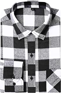 DOKKIA Men's Dress Buffalo Plaid Checkered Fitted Long Sleeve Flannel Shirt Jacket