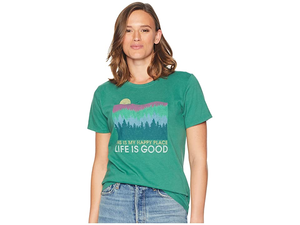 423d12c1ab5 Life is Good Happy Place Trees Crusher T-Shirt (Forest Green) Women s T  Shirt