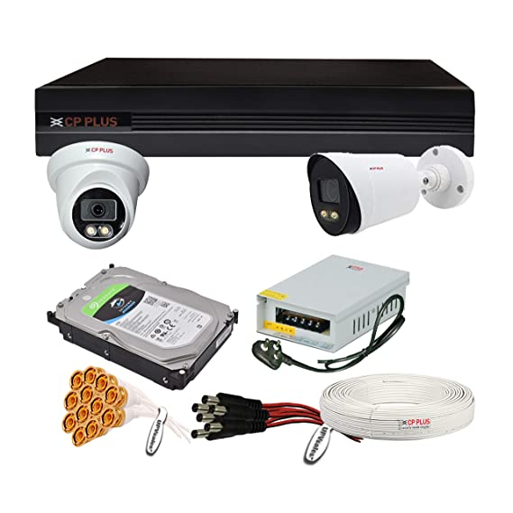 CP Plus H.265, 2.4 MP Guard+ Colorful View in Dark 2 Camera Combo Kit with (4Ch DVR, 1 Dome 1 Bullet Cameras, 2TB HDD, Power Supply, 45Mtr Cable, Audio Mic & Connectors) CCTV Security Camera Set