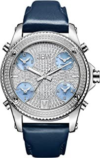 JBW Luxury Men's Jet Setter 136 Diamonds Five Time Zone Swiss Movements & Italian Leather