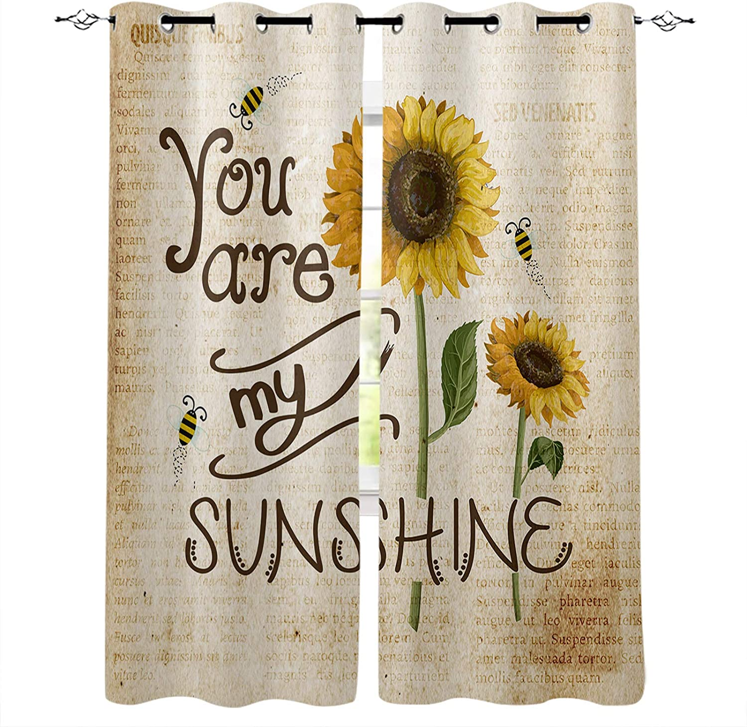 Rare Window Curtains 2 Drapes Farm Bee Painting Sunflower New product!! Reduc Noise
