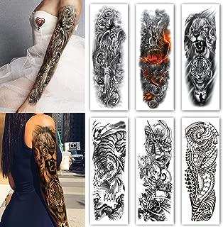 Leoars 6 Sheets Extra Temporary Tattoo Black Tattoo Full Arm Sleeve Temporary Tattoo Stickers Body Atr for Man Women