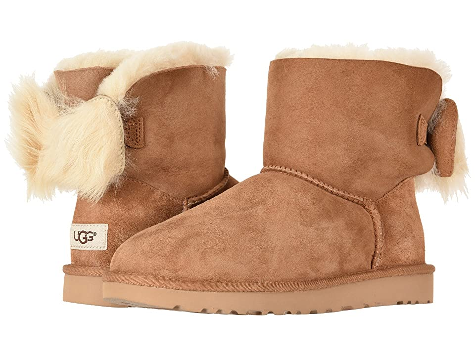 UGG Fluff Bow Mini (Chestnut) Women
