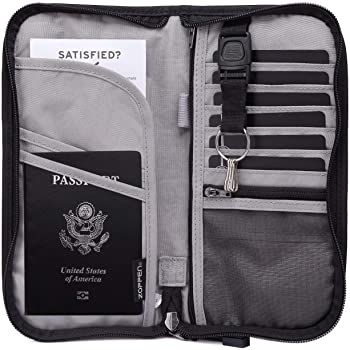 Zoppen RFID Travel Passport Wallet & Documents Organizer Zipper Case with Removable Wristlet Strap