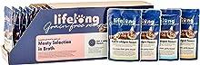 Marca Amazon - Lifelong Comida húmeda para gatos adultos sin cereales Selección de carne en caldo-pato,pollo,pavo y hígado, 2,4 kg (28 bolsitas x 85g)