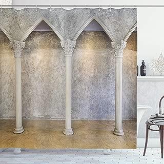 Ambesonne Pillar Shower Curtain, Antique Theme Classic Interior with Columns Digital Image Print, Cloth Fabric Bathroom Decor Set with Hooks, 75