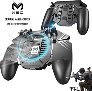 MEO Mobile Controller for iPhone and Android with 4000mAh Power Bank and Cooling Fan, PUBG Mobile Controller [ 6 Finger ] with L1R1 L2R2 Aim and Shoot Triggers Joystick Remote Grip-Black