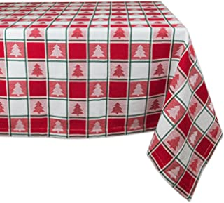 DII Holiday Trees Square Tablecloth, 100% Cotton with 1/2
