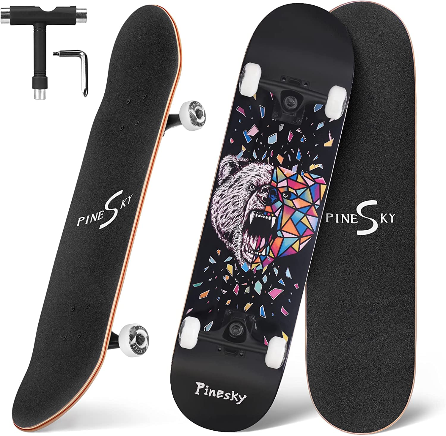 PINESKY Skateboards 31 Inch Complete Double Skateboard Animer Max 65% OFF and price revision Kick Skat