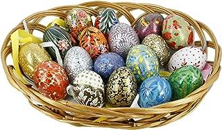 ShalinIndia Paper Mache Wooden Ornaments Easter Eggs Decorations Set of 18