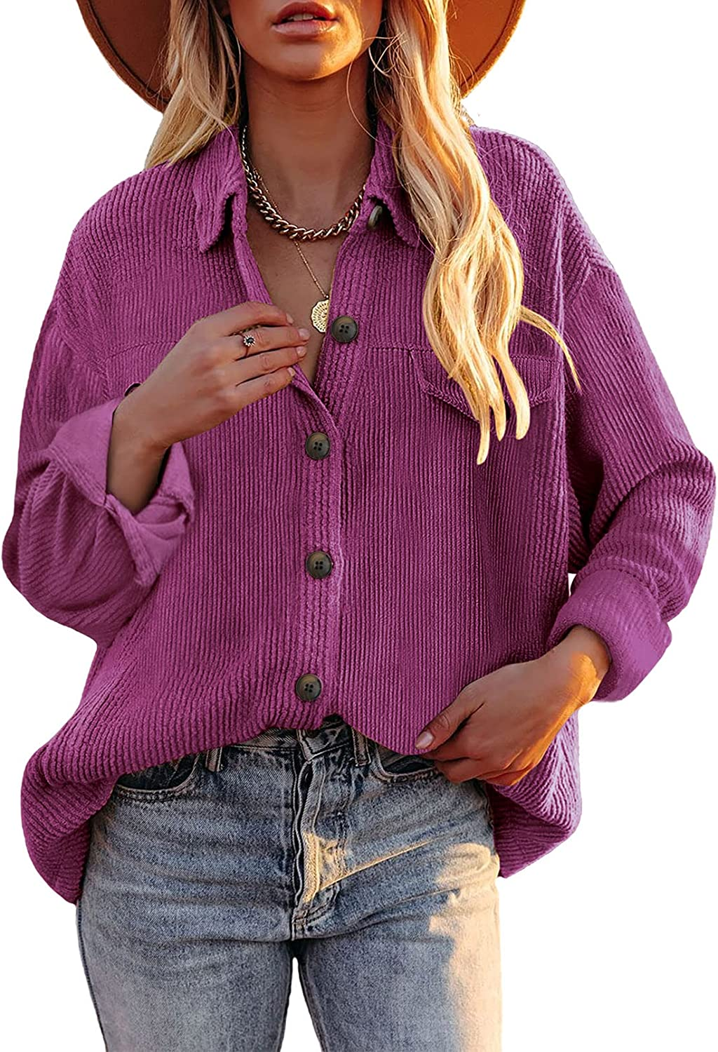 Dokotoo Womens Corduroy Long Sleeve Shirts Ja Super special price Button Down Casual Max 77% OFF