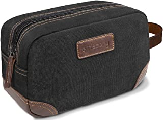 emissary Men's Toiletry Bag Leather and Canvas Travel Toiletry Bag Dopp Kit for Men Shaving Bag for Travel Accessories (Black)