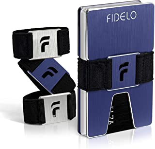 FIDELO Minimalist Wallet for Men - Slim Credit Card Holder Money Clip - RFID Blocking Front Pocket Mens Wallets