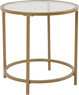 Spatial Order Round Metal Accent Table Glass Top, Gold