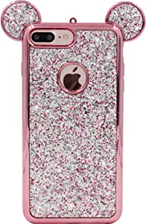 iPhone 7 Plus Case, MC Fashion Cute Sparkle Bling Glitter Mickey Mouse Ears Soft and Protective TPU Rubber Case for Apple iPhone 7 Plus and iPhone 8 Plus (Rose Gold)