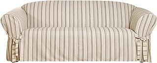SureFit Stripe 1-Piece - Sofa Slipcover - Grey (SF44787)