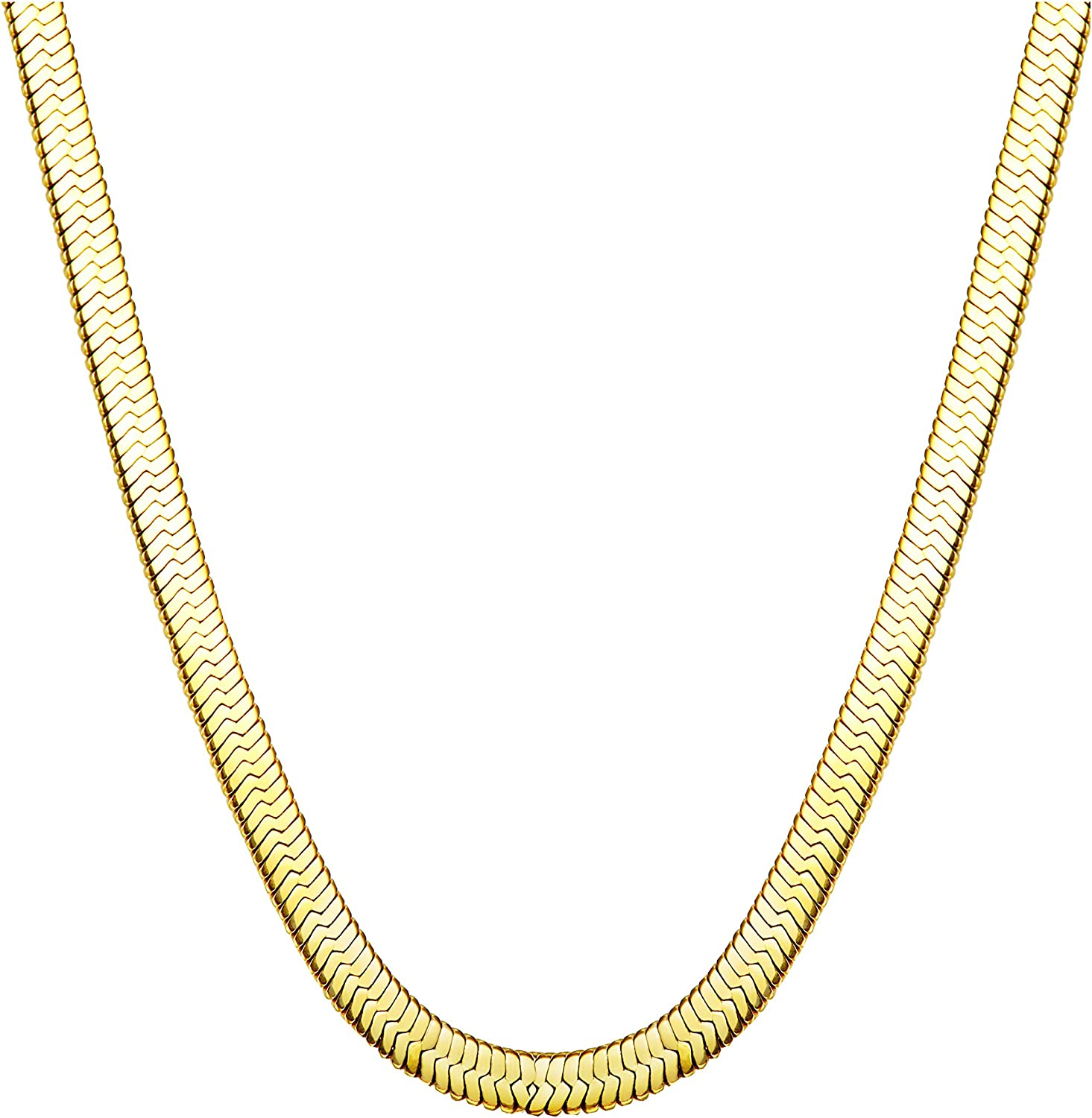 Jstyle Stainless Steel Necklace for Men Women Nickel-Free Herringbone Chain 16