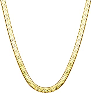"""Jstyle Stainless Steel Necklace for Men Women Nickel-Free Herringbone Chain 16"""" Golden Tone"""