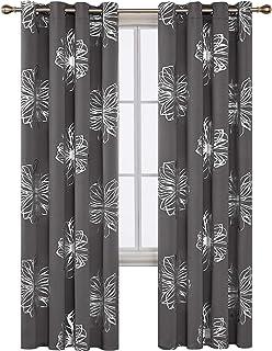 Deconovo Cortinas Opacas para Salón y Dormitorio con Aislamiento Térmico con 8 Ojales 117 x 229 cm 2 Piezas Gris Claro