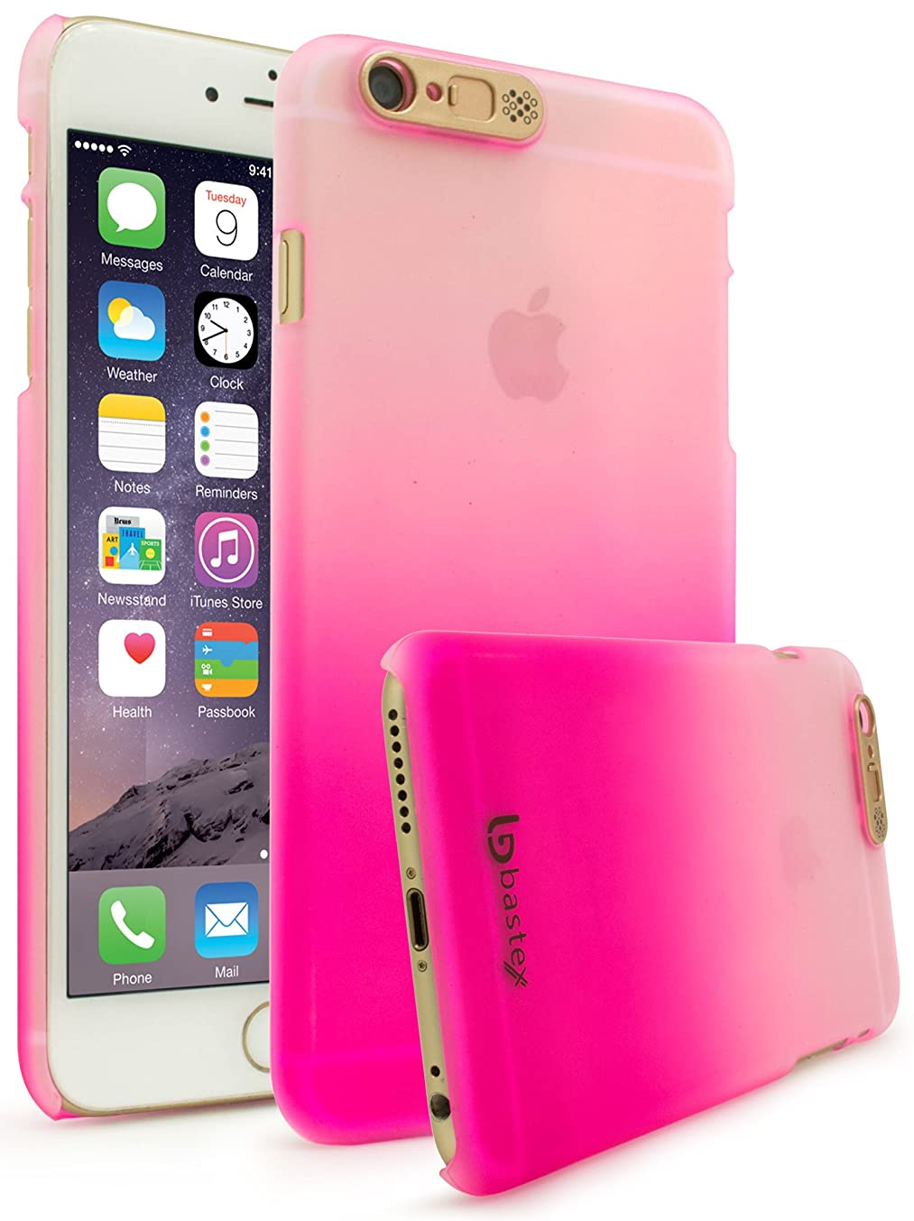 iPhone 6 / 6s Case, Bastex Slim Fit Frosted Fade White to Pink Hard Plastic Snap-On Case Cover with LED Flash Function for Apple iPhone 6 , iPhone 6s