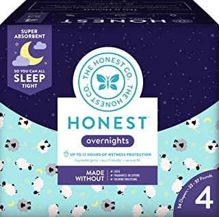 Honest Overnight Baby Diapers, Club Box, Sleepy Sheep, Size 4 (54 Count)