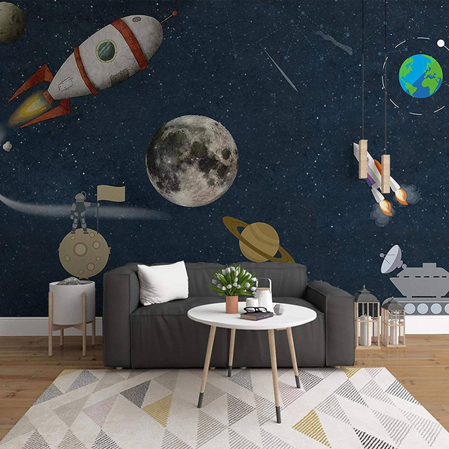 Spring new work one after another HGFHGD Photo Wallpaper 3D Hand-Painted Pl favorite Space Universe Cartoon