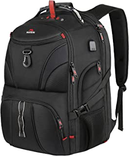Matein Extra Large Backpack, 18 Inch Travel Laptop Backpack with Weight Scale and Usb Port, Anti Theft Tsa Friendly Water Resistant Big Computer Bag Fit Gaming Laptops for Women and Men, 55L, Black