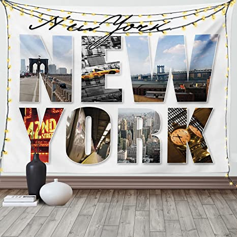 Amazon Com Ambesonne Nyc Decor Collection New York City Themed Collage Featuring With Different Areas Of The Big Apple Manhattan Scenery Bedroom Living Room Dorm Wall Hanging Tapestry 80 X 60 Multi Home