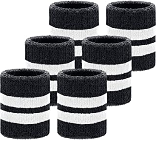6 Pack Wrist Sweatbands Sports Wristbands for Football Basketball, Running Athletic Sports