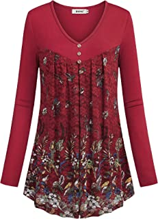 Women Long Sleeve Tunic Lace Floral Double Layers Button Dressy Blouse Top