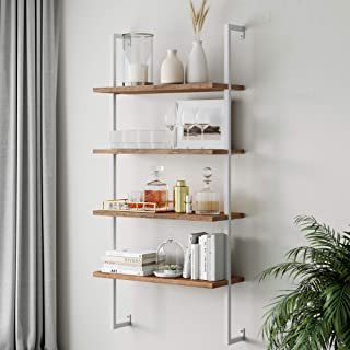 Best Nathan James Theo 4-Shelf Bookcase, Floating Wall Mount Shelves with Natural Wood and Industrial Pipe Metal Frame, Oak/White Review