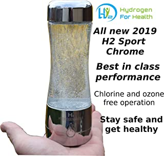 H2 Sport Chrome Hydrogen Generator Water Bottle with PEM Dual Chamber Technology.