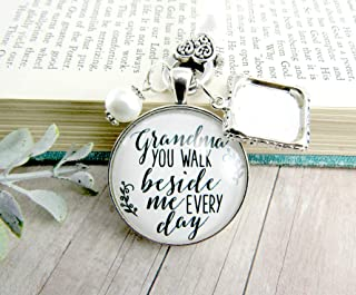 Bridal Bouquet Charm Grandma Picture Frame Wedding Memorial Remembrance Pendant Silver Finish Jewelry