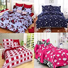 RN HOME FURNISHING Combo Glace Cotton King Size Double Bedsheet, Combo Set of 4 Bedsheet and 8 Pillow