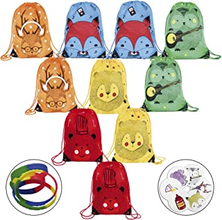 10 pcs Party favor bags for kids birthday + 100 stickers + 10 bracelets. Drawstring backpack for kids 5 unique animal desi...