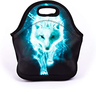 Cool Cyan Wolf Lunch Bag Blue Walking Wolf Lunch Bags for Women Kids Girls Teen Boys Insulated Waterproof Lunch Tote Animal Printed Box for Work School Travel and Picnic