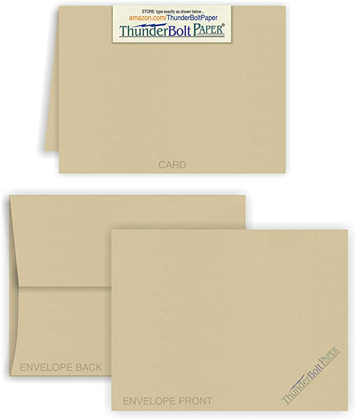 5X7 Folded Size with A-7 Envelopes - Desert TAN Fiber - 15 Sets (7X10 Cards Scored to Fold in Half) Blank Pack -Invitations, Greeting, Thank Yous, Notes, Holidays, Weddings, Birthdays - 80# Cardstock