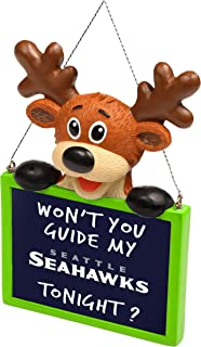 FOCO NFL Seattle Seahawks Reindeer with Sign Hanging Tree Holiday OrnamentReindeer with Sign Hanging Tree Holiday Ornament, Team Color, One Size