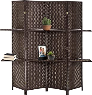 FDW Wooden Folding Portable Partition 4 Panel Screen Room Divider, Brown