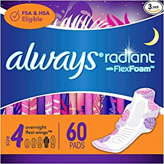 Sponsored Ad - Always Radiant Feminine Pads for Women, Size 4, 60 Count, Overnight Absorbency, With Wings, Scented (20 Cou...
