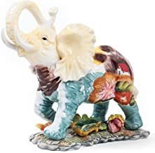 FORLONG FL6016 Ceramic Collectible Figurines Statue,3D Hand-Painted Elephant with Trunk Raised Statue Decoration(Small)