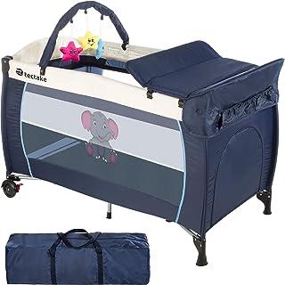 TecTake Kinder Reisebett höhenverstellbar mit Babyeinlage - diverse Farben - Blau | Nr. 402201