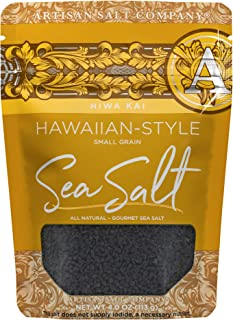 SaltWorks Hiwa Kai, Black Hawaiian-style Sea Salt, Small Grain, Artisan Zip-Top Pouch, 4 Ounce