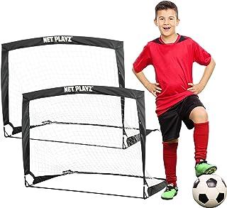 NET PLAYZ 4ftx3ft آسان تمرین تاشو تمرین قابل حمل فوتبال ، هدف 2 ، مجموعه 2
