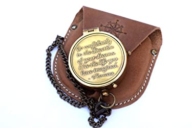 NEOVIVID Brass Compass Engraved with Thoreau's Go Confidently Quote and Stamped Leather Case, Boys Gifts