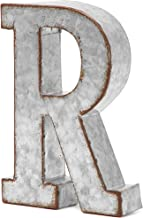 Bright Creations Rustic Letter Wall Decor - Galvanized Metal 3D Letter R Decor
